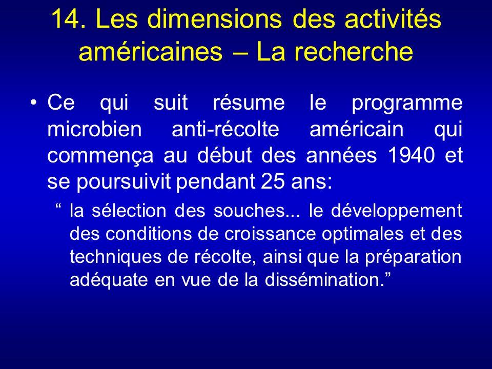 14. Les dimensions des activités américaines – La recherche