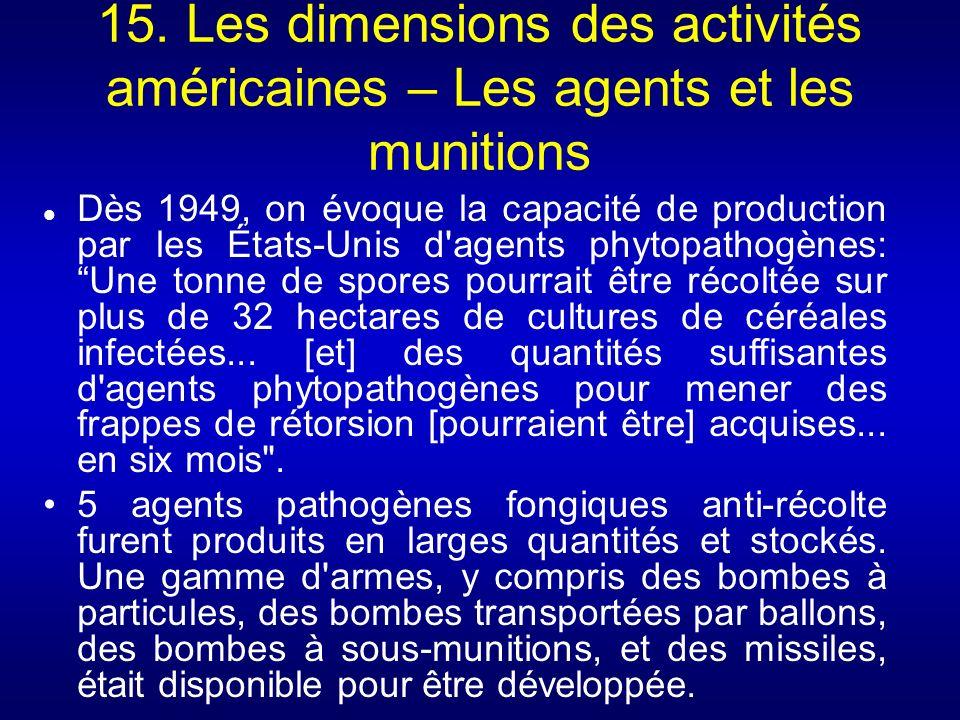 15. Les dimensions des activités américaines – Les agents et les munitions