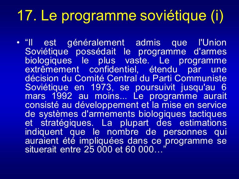 17. Le programme soviétique (i)