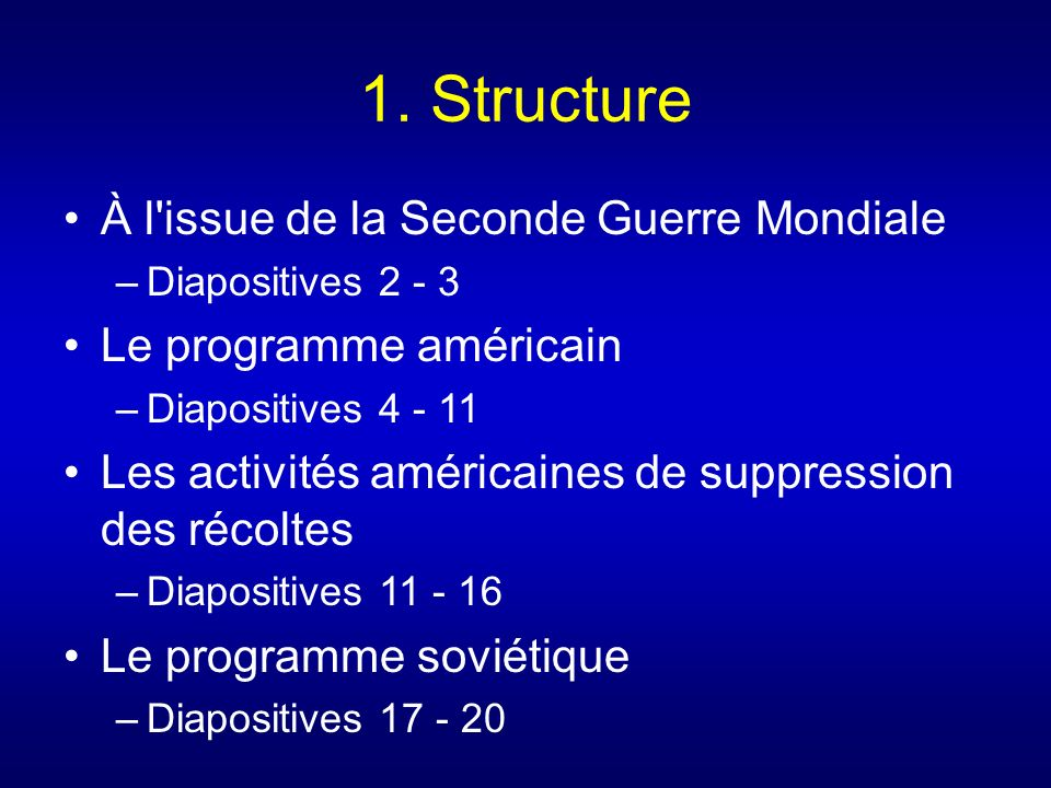 1. Structure À l issue de la Seconde Guerre Mondiale