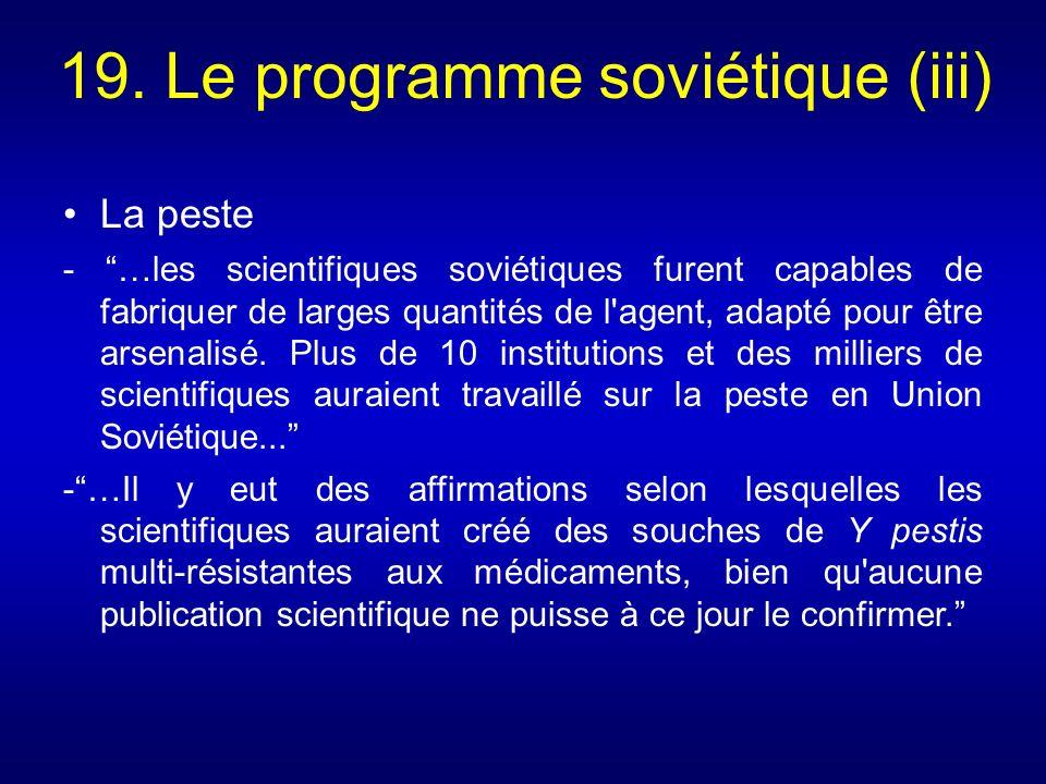 19. Le programme soviétique (iii)