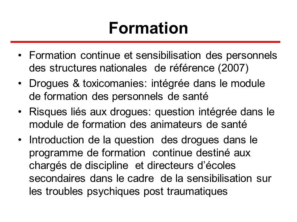 Formation Formation continue et sensibilisation des personnels des structures nationales de référence (2007)