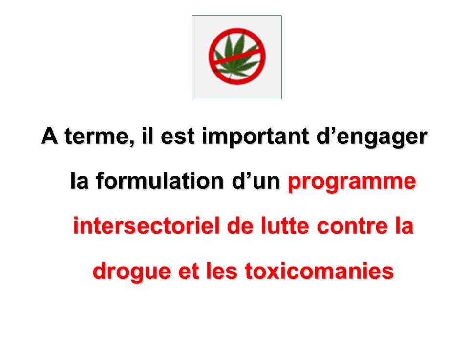 A terme, il est important d'engager la formulation d'un programme intersectoriel de lutte contre la drogue et les toxicomanies