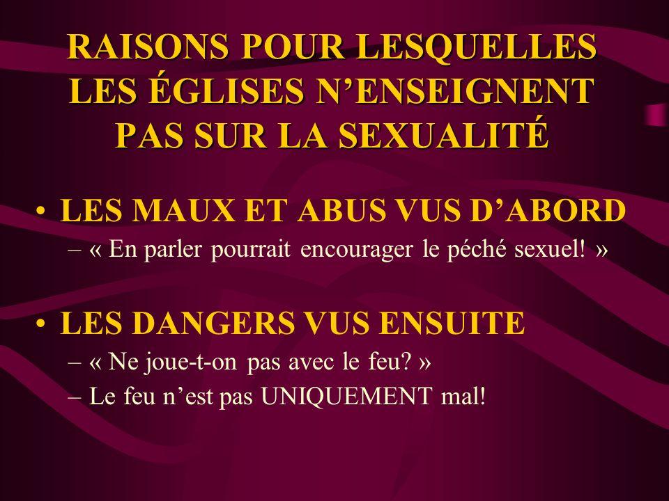 RAISONS POUR LESQUELLES LES ÉGLISES N'ENSEIGNENT PAS SUR LA SEXUALITÉ