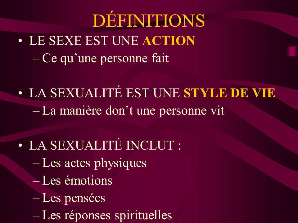 DÉFINITIONS LE SEXE EST UNE ACTION Ce qu'une personne fait