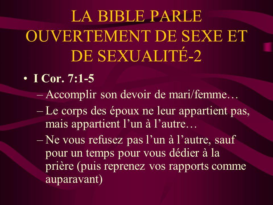 LA BIBLE PARLE OUVERTEMENT DE SEXE ET DE SEXUALITÉ-2