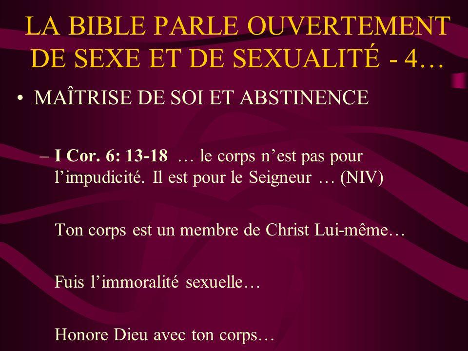 LA BIBLE PARLE OUVERTEMENT DE SEXE ET DE SEXUALITÉ - 4…