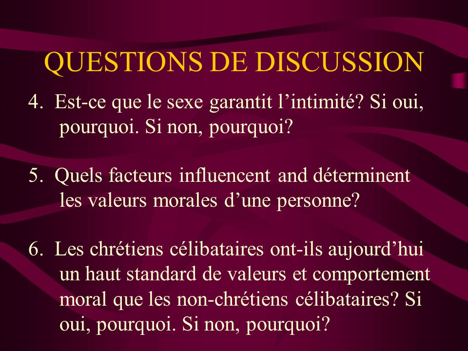 QUESTIONS DE DISCUSSION