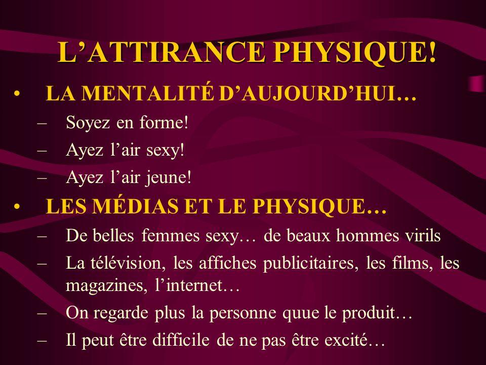 L'ATTIRANCE PHYSIQUE! LA MENTALITÉ D'AUJOURD'HUI…