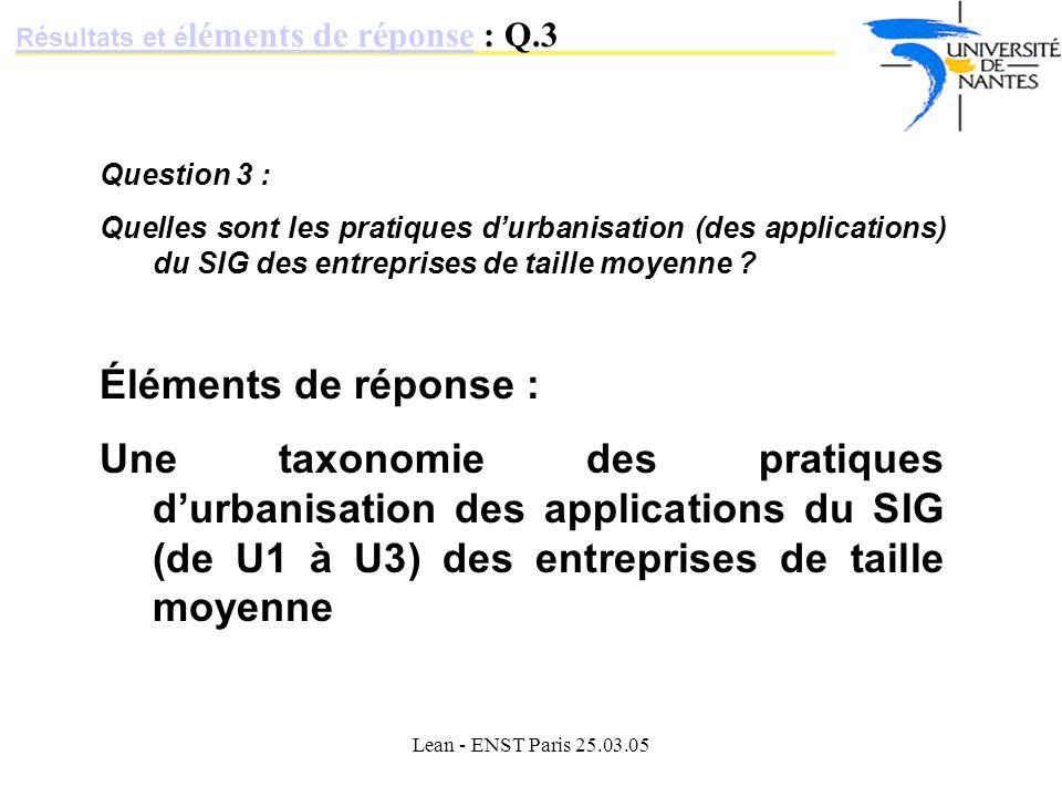 Résultats et éléments de réponse : Q.3