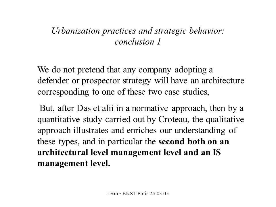 Urbanization practices and strategic behavior: conclusion 1