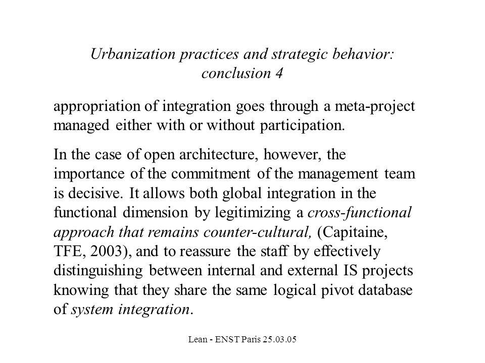 Urbanization practices and strategic behavior: conclusion 4
