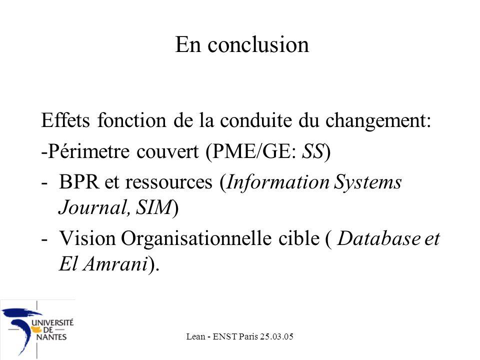 En conclusion Effets fonction de la conduite du changement: