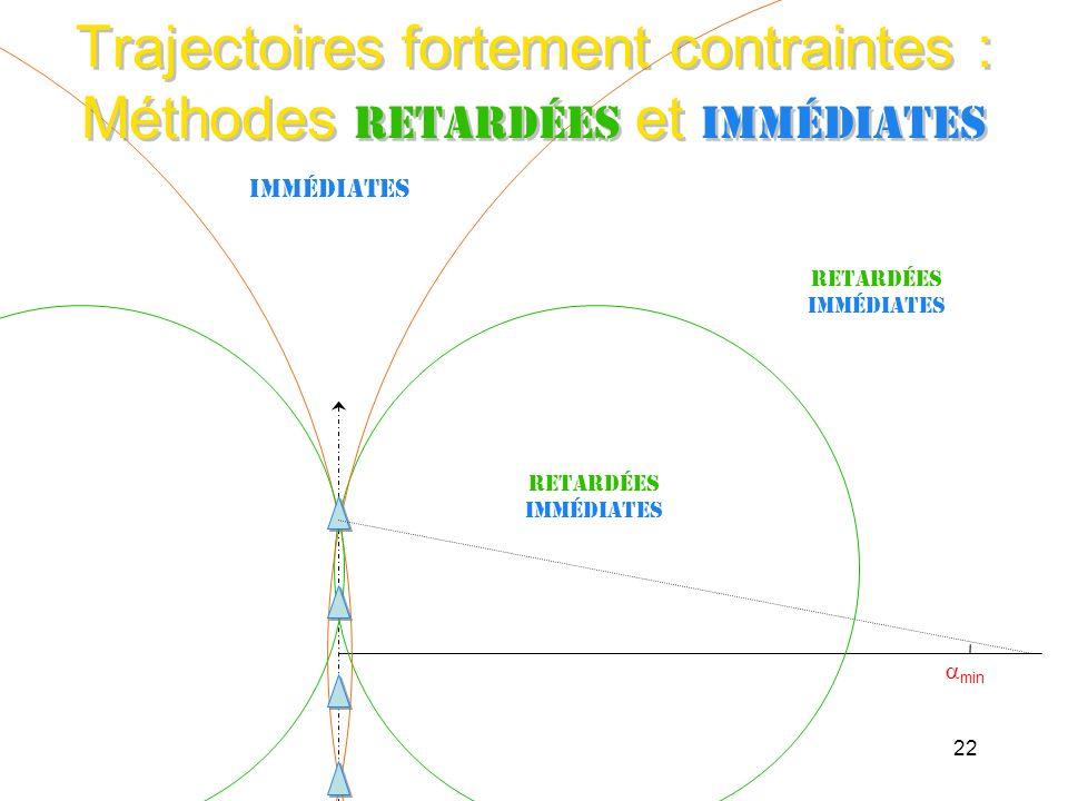 Trajectoires fortement contraintes : Méthodes retardées et immédiates