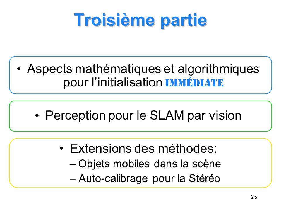 Troisième partie Aspects mathématiques et algorithmiques pour l'initialisation immédiate. Perception pour le SLAM par vision.