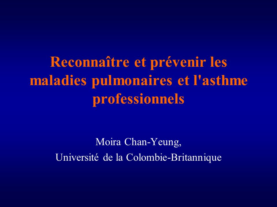 Moira Chan-Yeung, Université de la Colombie-Britannique