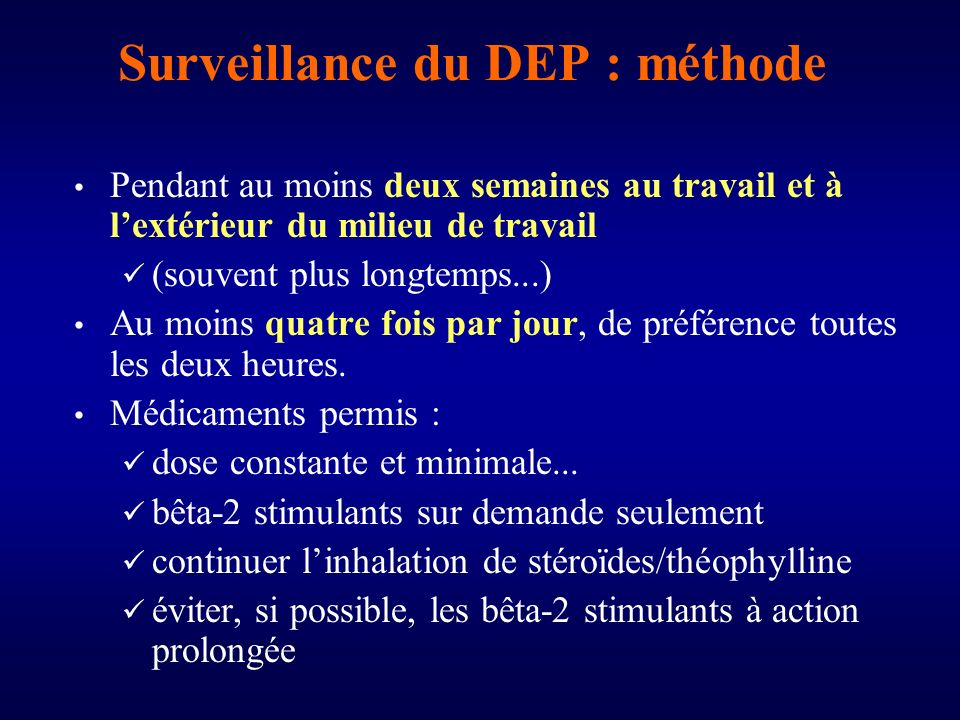 Surveillance du DEP : méthode