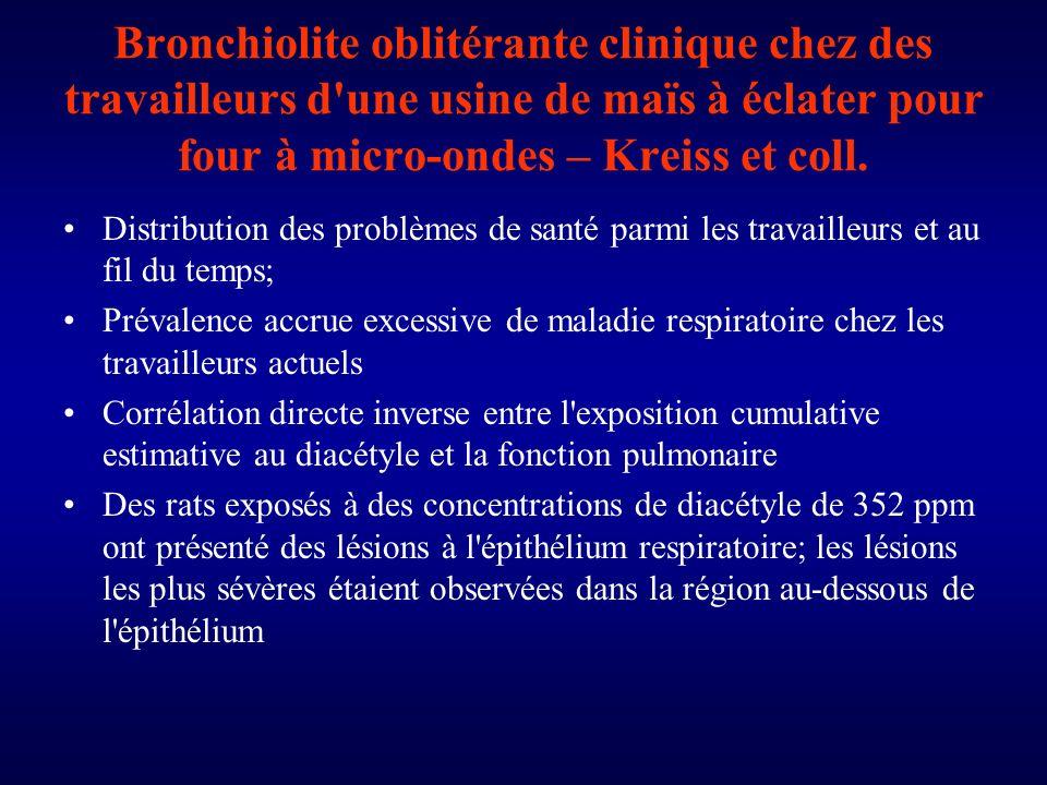 Bronchiolite oblitérante clinique chez des travailleurs d une usine de maïs à éclater pour four à micro-ondes – Kreiss et coll.