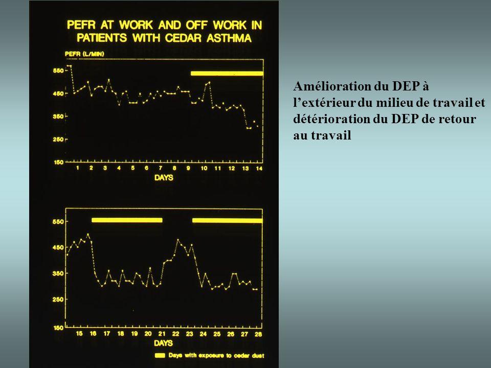Amélioration du DEP à l'extérieur du milieu de travail et détérioration du DEP de retour au travail