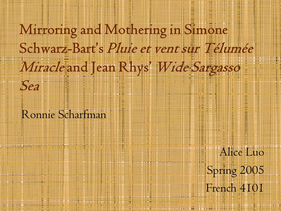 Mirroring and Mothering in Simone Schwarz-Bart's Pluie et vent sur Télumée Miracle and Jean Rhys' Wide Sargasso Sea