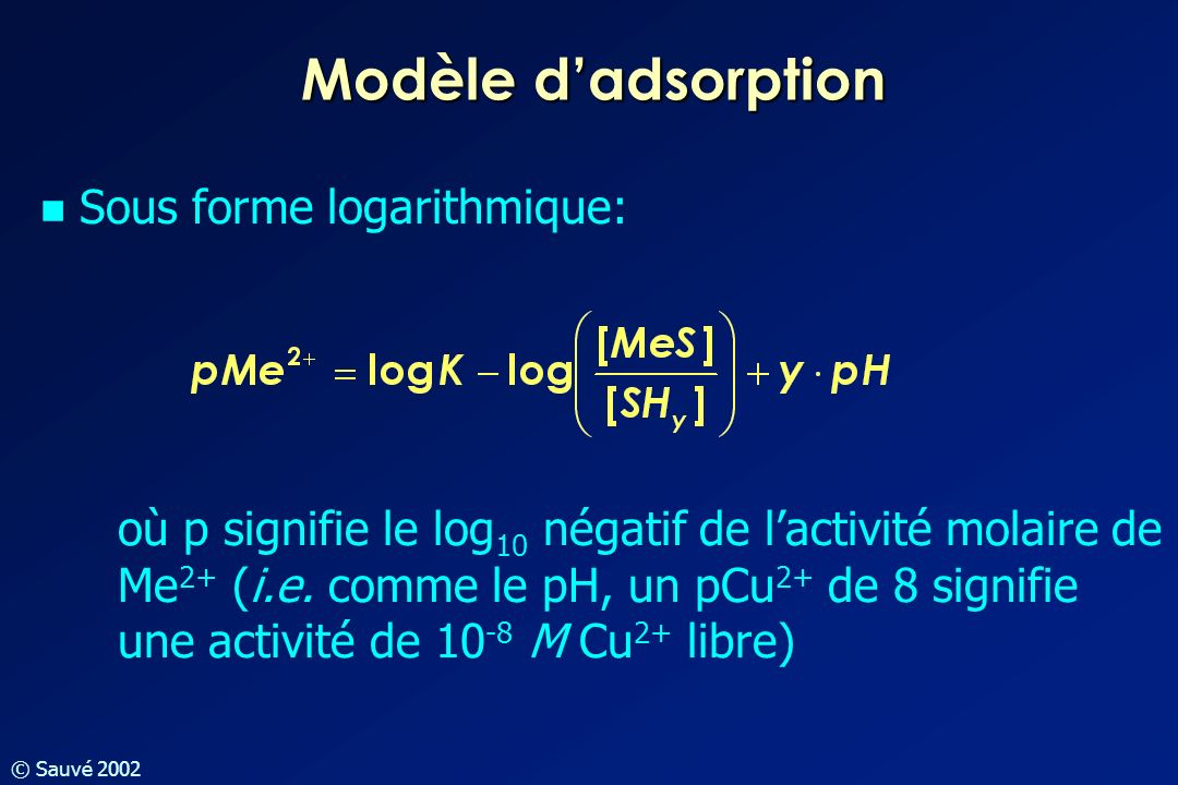 Modèle d'adsorption Sous forme logarithmique:
