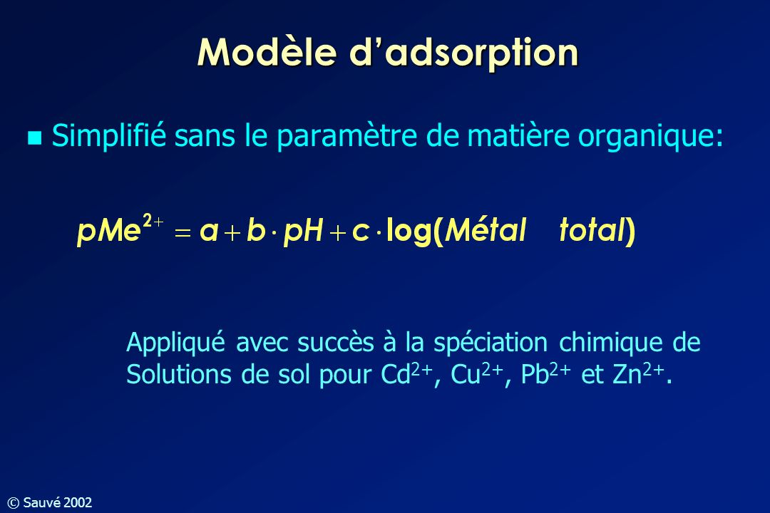 Modèle d'adsorption Simplifié sans le paramètre de matière organique: