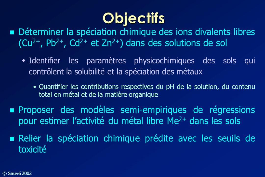 Objectifs Déterminer la spéciation chimique des ions divalents libres (Cu2+, Pb2+, Cd2+ et Zn2+) dans des solutions de sol.