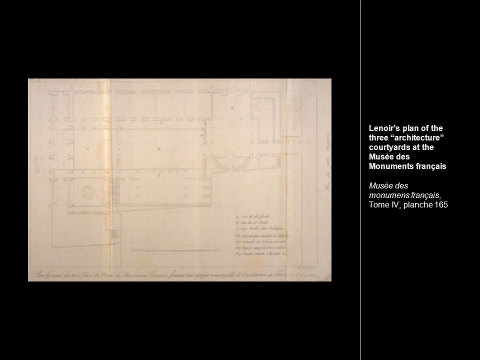 Lenoir's plan of the three architecture courtyards at the Musée des Monuments français Musée des monumens français, Tome IV, planche 165