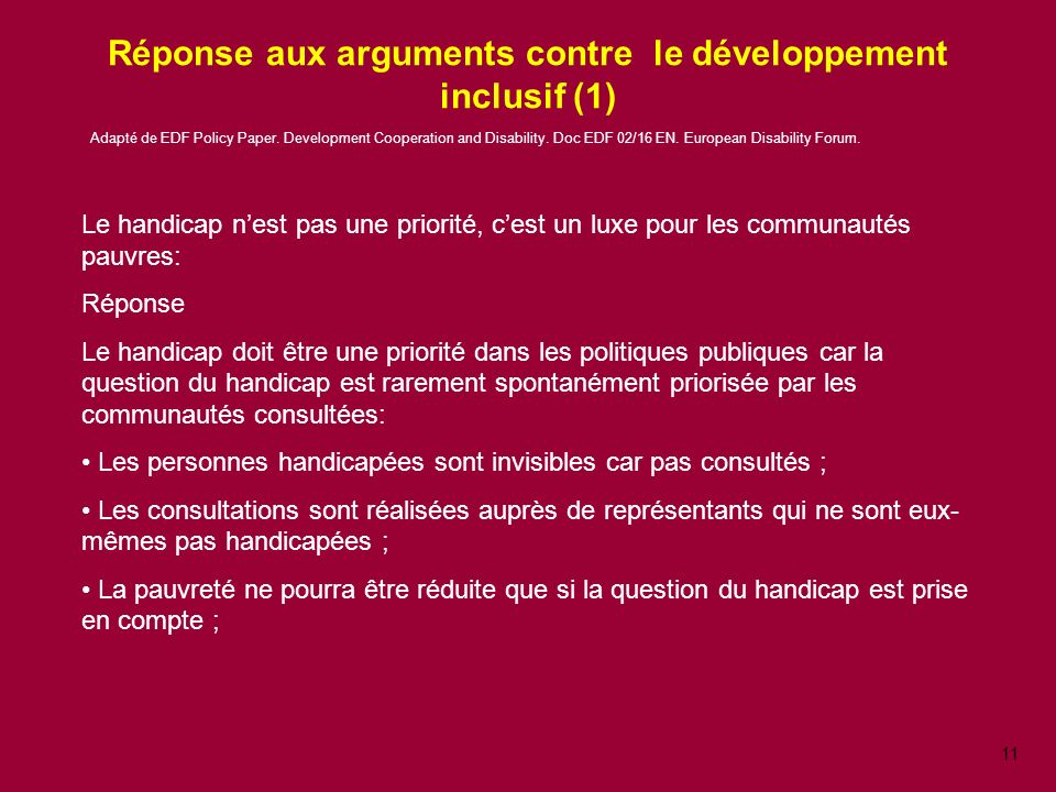 Réponse aux arguments contre le développement inclusif (1)
