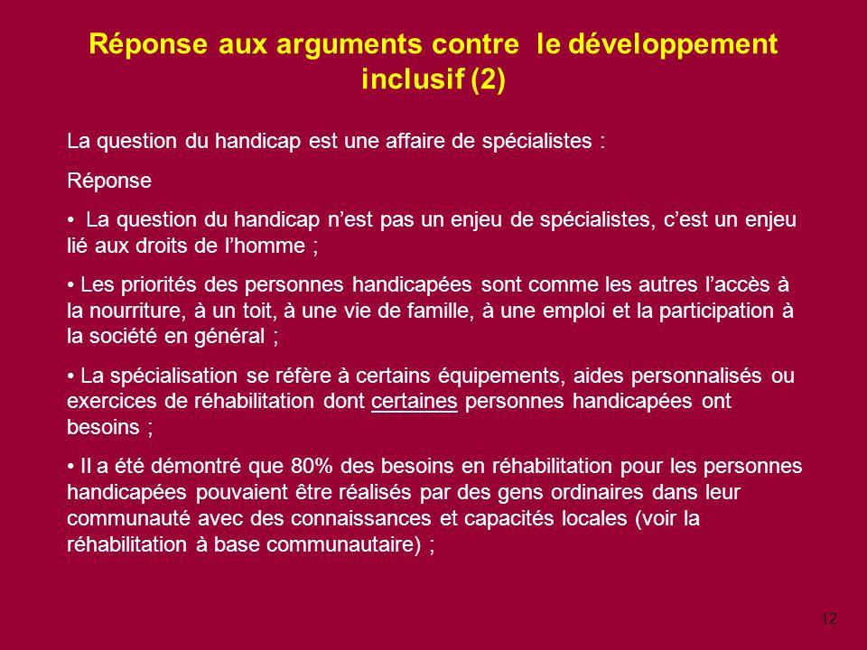Réponse aux arguments contre le développement inclusif (2)
