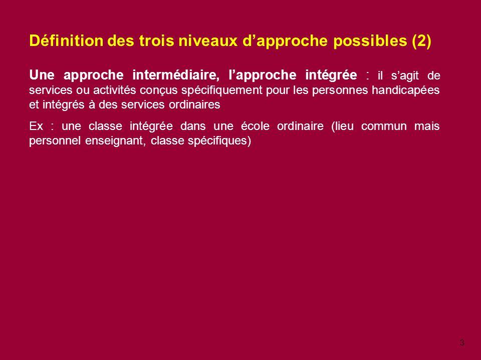 Définition des trois niveaux d'approche possibles (2)