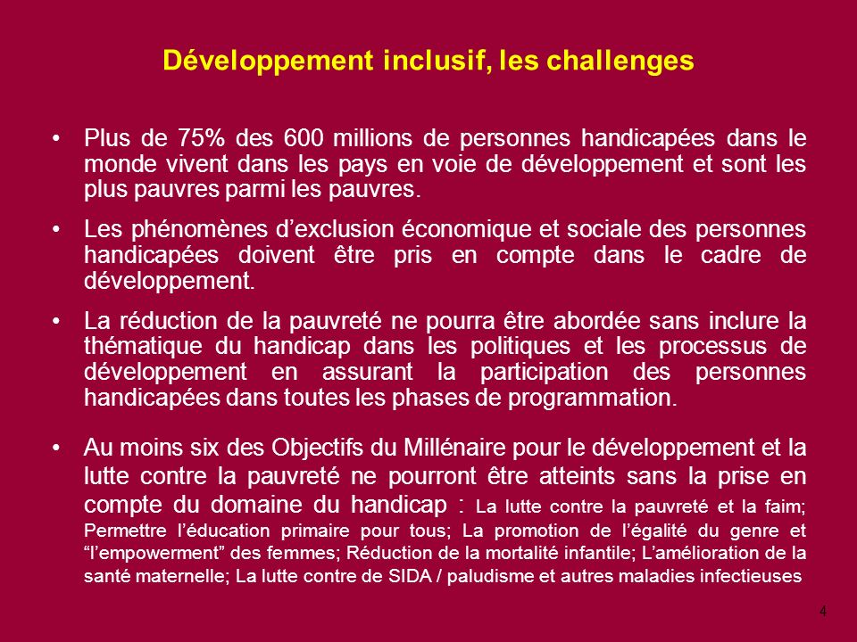 Développement inclusif, les challenges