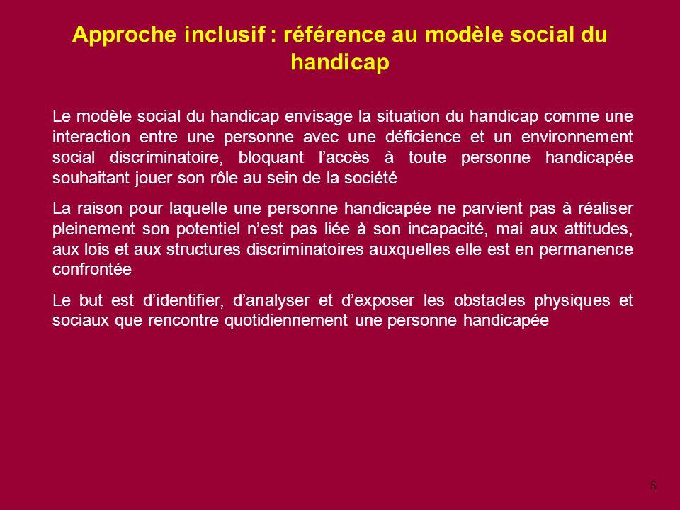 Approche inclusif : référence au modèle social du handicap