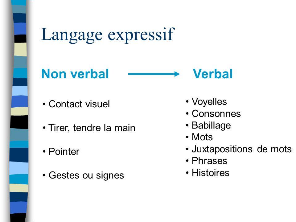 Langage expressif Non verbal Verbal Voyelles Contact visuel Consonnes