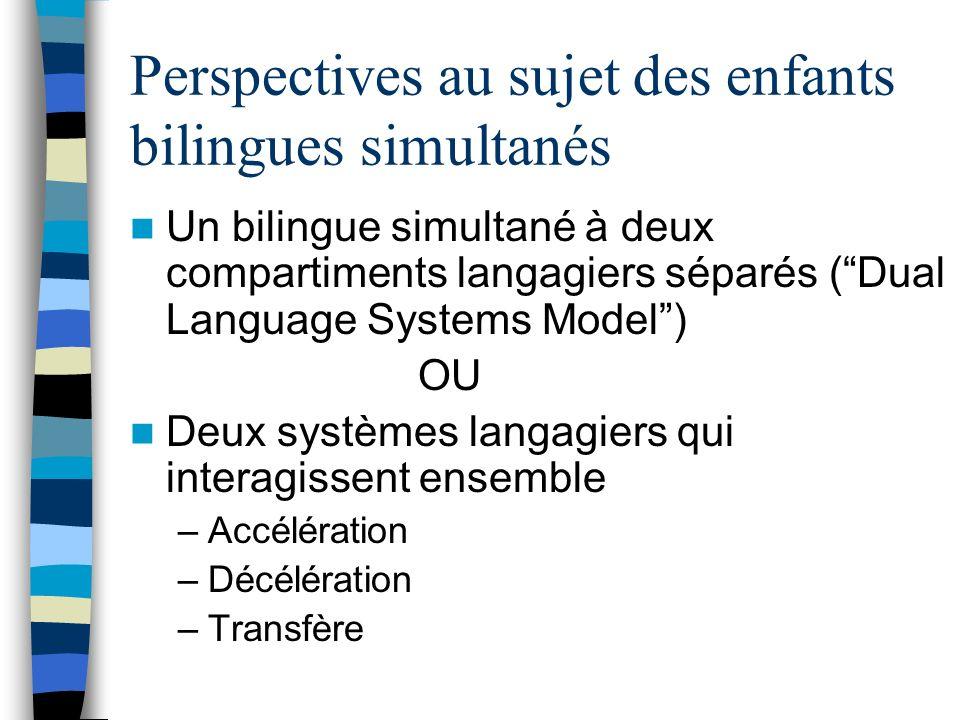 Perspectives au sujet des enfants bilingues simultanés