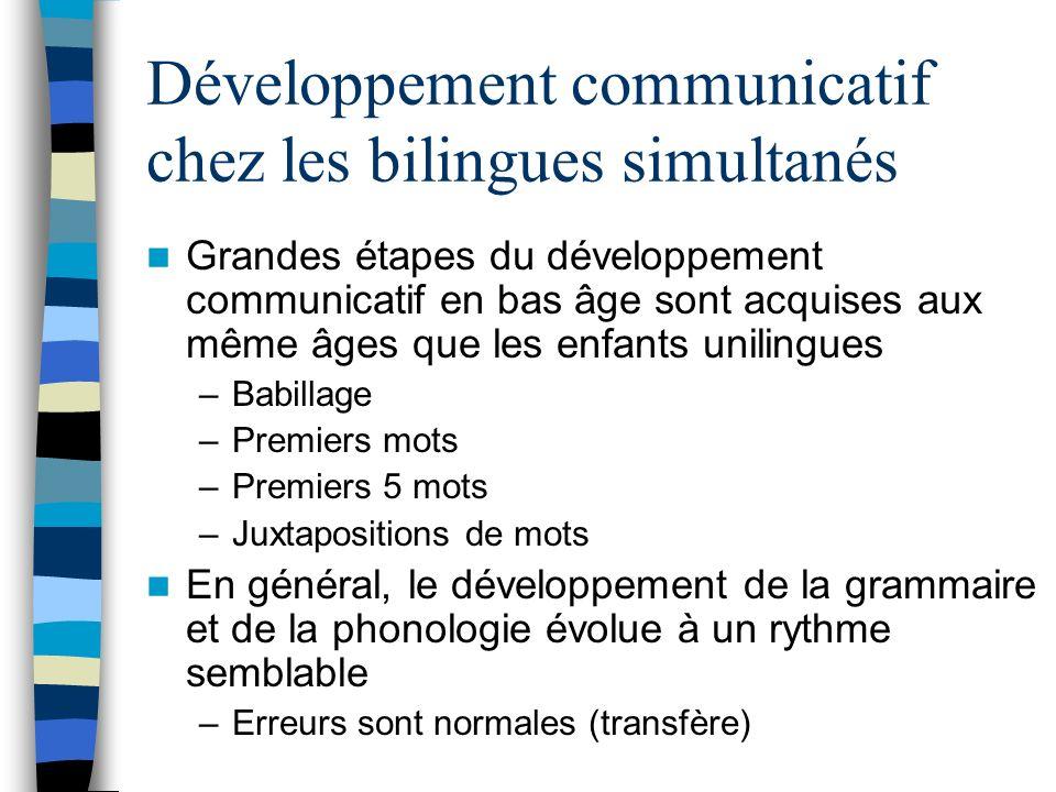 Développement communicatif chez les bilingues simultanés