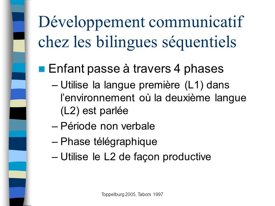 Développement communicatif chez les bilingues séquentiels
