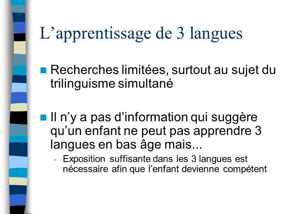 L'apprentissage de 3 langues