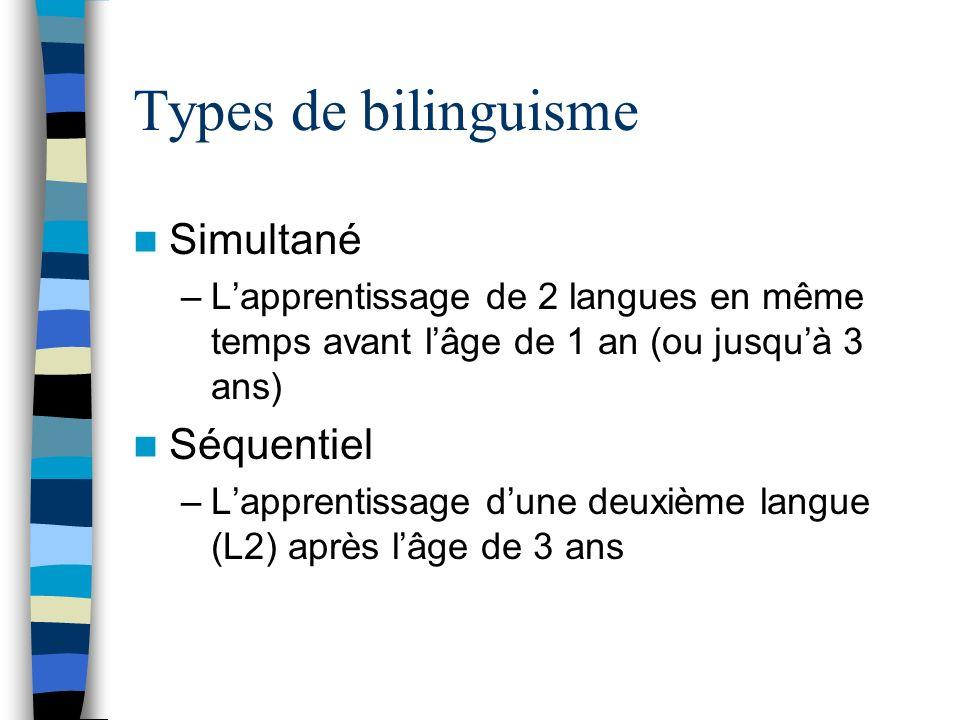 Types de bilinguisme Simultané Séquentiel
