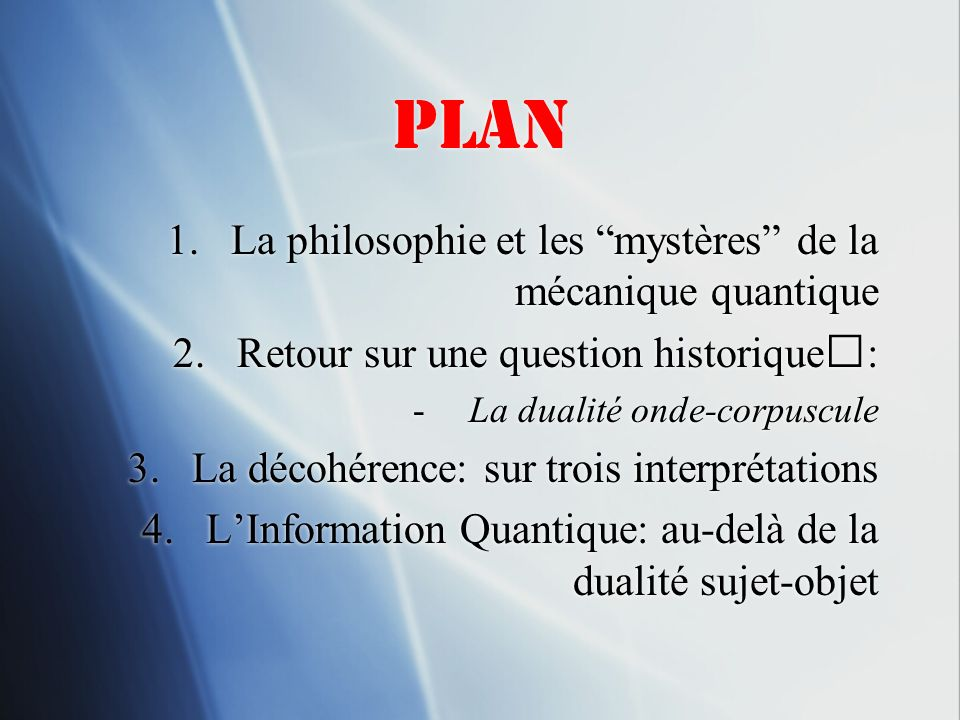 Plan La philosophie et les mystères de la mécanique quantique