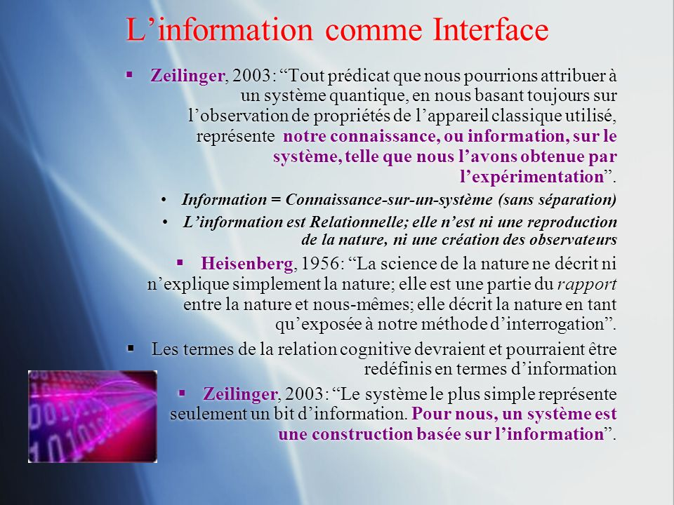 L'information comme Interface