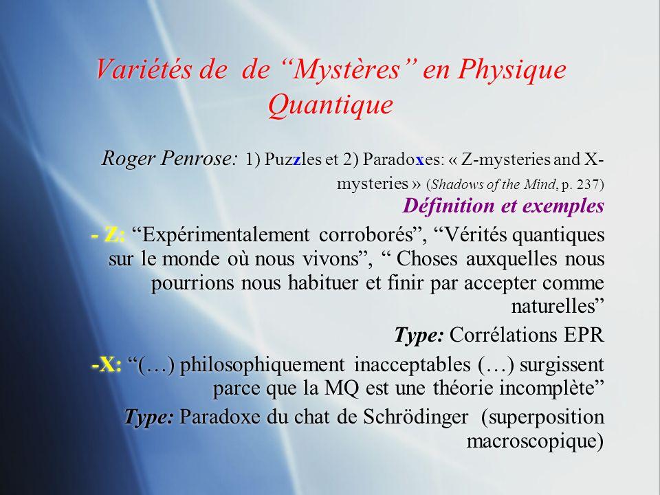 Variétés de de Mystères en Physique Quantique