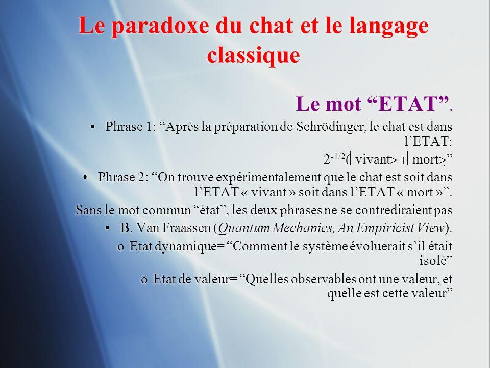 Le paradoxe du chat et le langage classique
