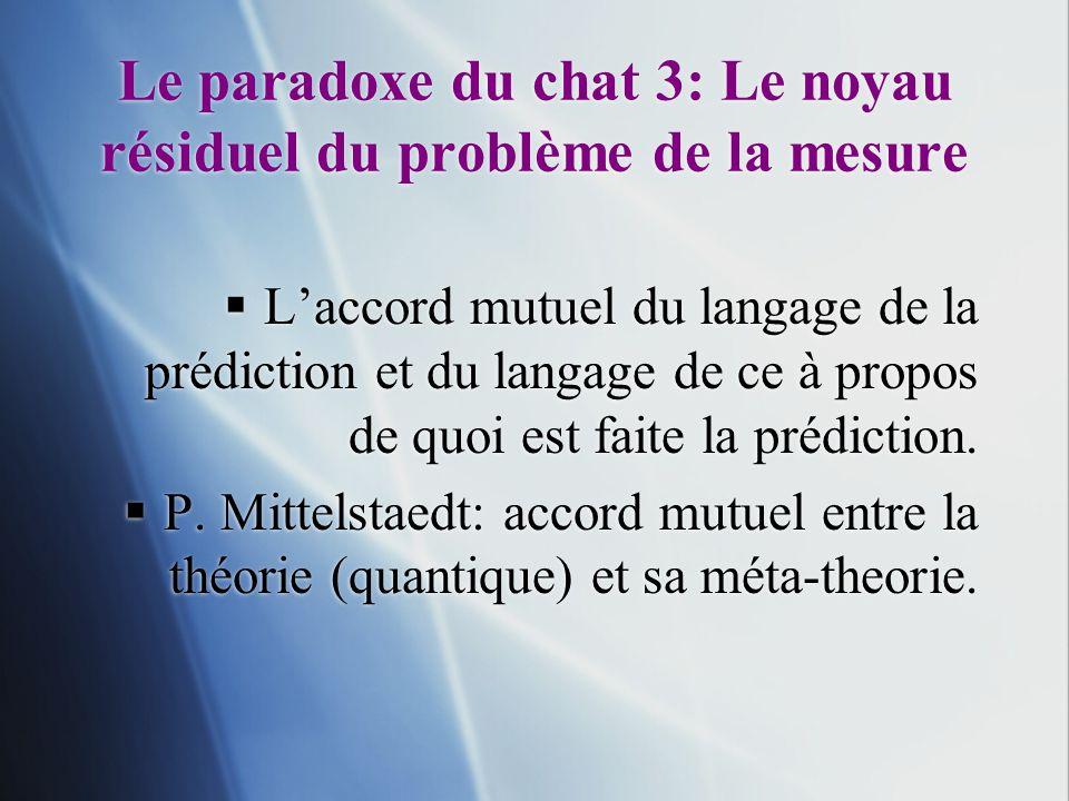Le paradoxe du chat 3: Le noyau résiduel du problème de la mesure