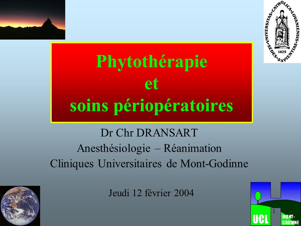 Phytothérapie et soins périopératoires