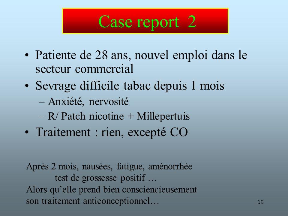 Case report 2 Patiente de 28 ans, nouvel emploi dans le secteur commercial. Sevrage difficile tabac depuis 1 mois.