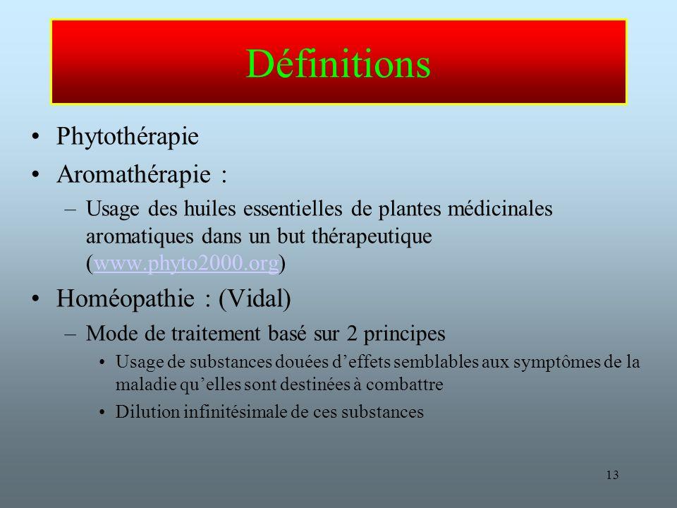 Définitions Phytothérapie Aromathérapie : Homéopathie : (Vidal)