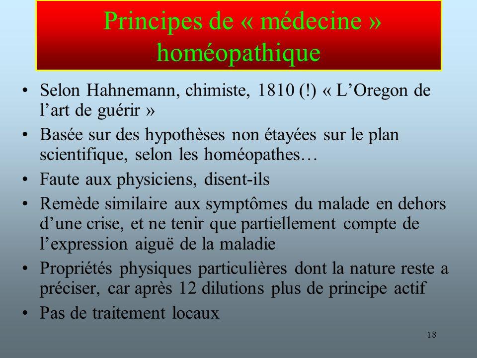 Principes de « médecine » homéopathique
