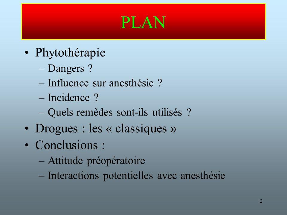 PLAN Phytothérapie Drogues : les « classiques » Conclusions :
