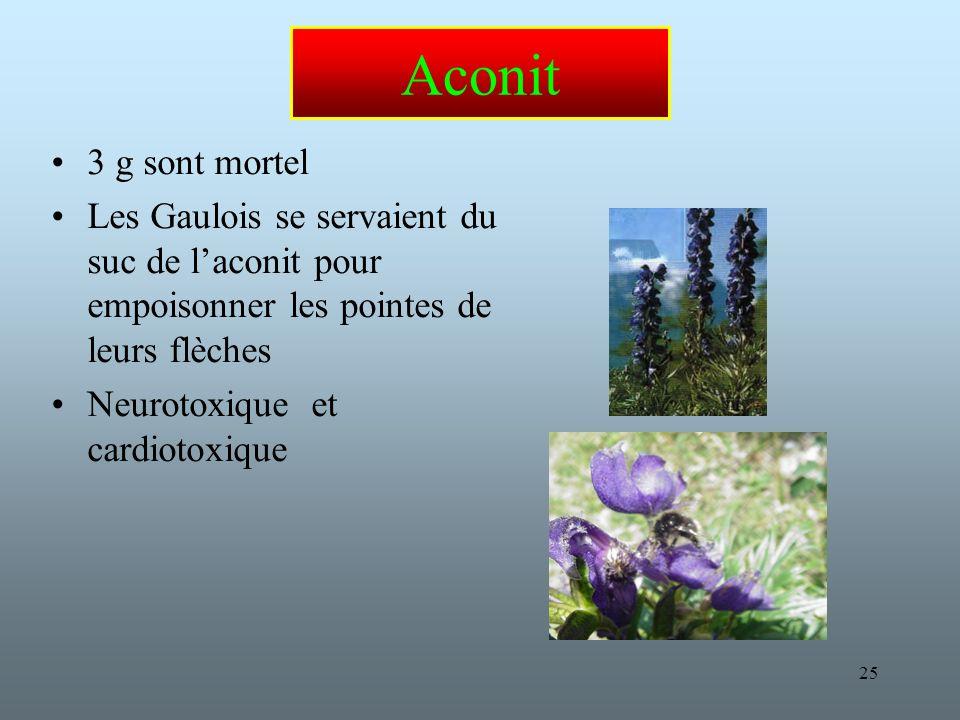 Aconit 3 g sont mortel. Les Gaulois se servaient du suc de l'aconit pour empoisonner les pointes de leurs flèches.